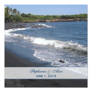 Cuadrado negro de la invitación del boda de playa invitación 13,3 cm x 13,3cm