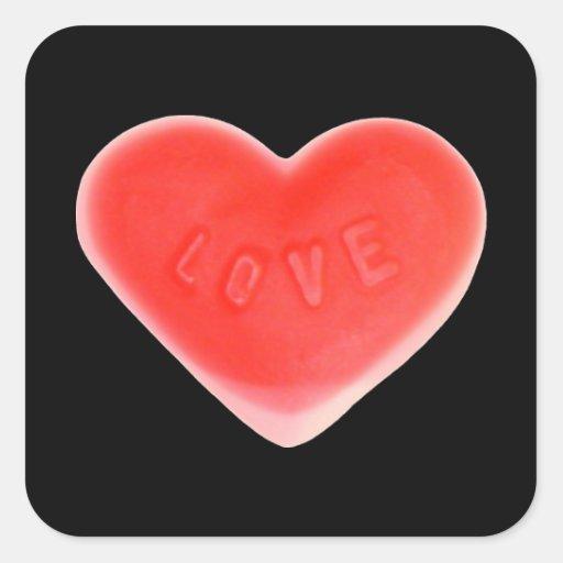 Cuadrado negro del pegatina del amor