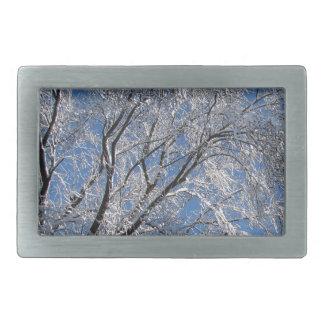 Cuadrado nevado de la fotografía de los árboles hebillas de cinturón rectangulares