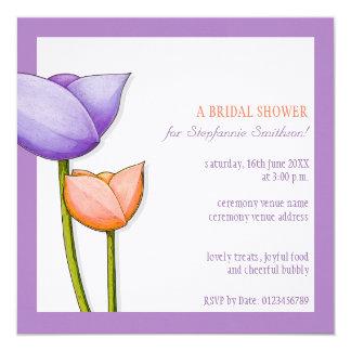 """Cuadrado nupcial anaranjado púrpura de la ducha de invitación 5.25"""" x 5.25"""""""