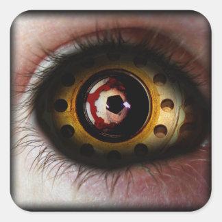 Cuadrado oxidado del ojo pegatina cuadrada