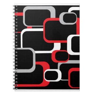Cuadrado retro blanco y gris rojo libros de apuntes con espiral