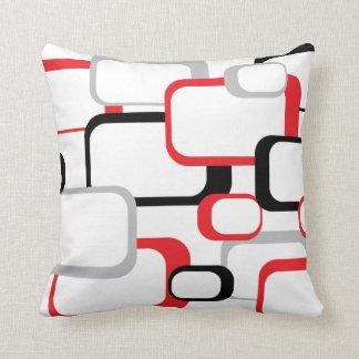 Cuadrado retro del rojo, negro y gris cojines