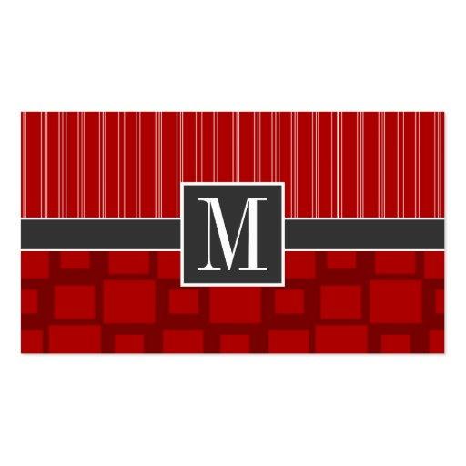 Cuadrado retro rojo tarjetas de visita