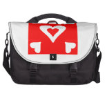 Cuadrado rojo del corazón bolsas para portátil
