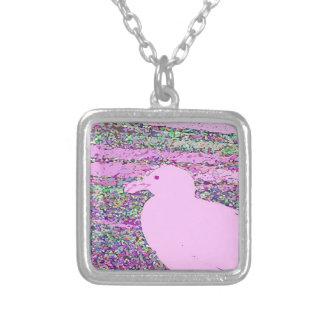 Cuadrado rosado de la gaviota collares personalizados