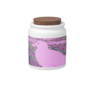 Cuadrado rosado de la gaviota jarra para caramelo