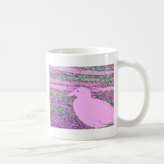 Cuadrado rosado de la gaviota tazas