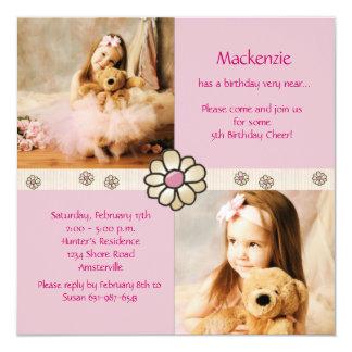 Cuadrado rosado de la margarita - fiesta de invitación 13,3 cm x 13,3cm