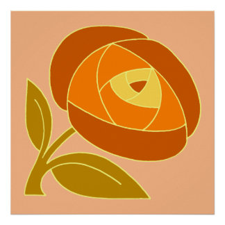Cuadrado subió estilo retro del naranja de la flor póster