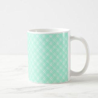 Cuadrado texturizado verde, oblongo. Blanco Backgd Taza Clásica