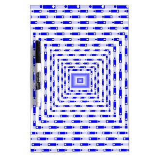 Cuadrado tridimensional azul tableros blancos
