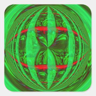 Cuadrado verde del pegatina del orbe