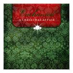 cuadrado verde rojo del damasco 311-Enchanted Anuncios Personalizados