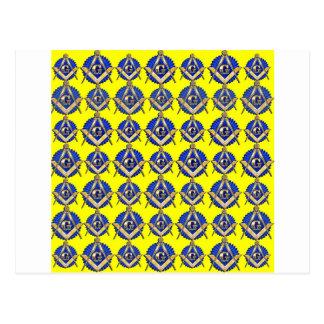 Cuadrado y compás amarillos postal