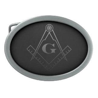 Cuadrado y compás con la inserción G Hebilla De Cinturón Oval