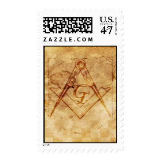 Cuadrado y compás con todo el ojo que ve timbres postales