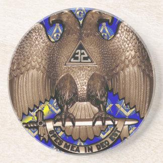 Cuadrado y compás escoceses del rito azules y amar posavasos personalizados