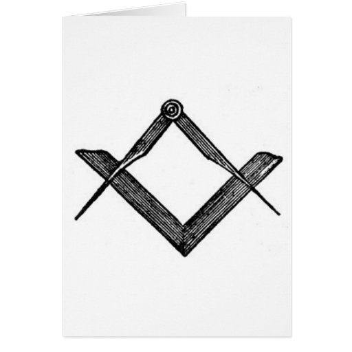 Cuadrado y compases tarjeta de felicitación
