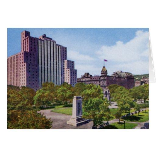 Cuadrado y parque 1920 del dominio de Montreal Can Felicitaciones