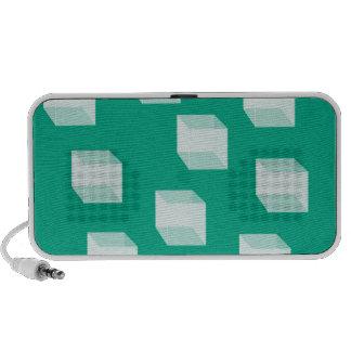 cuadrados 3D en altavoces verdes