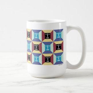 Cuadrados 5 de la cara taza de café