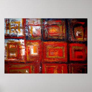 Cuadrados abstractos africanos que pintan el póster