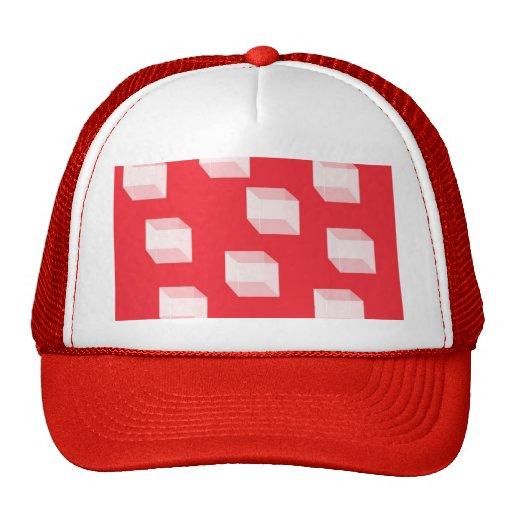 Cuadrados abstractos en rojo gorras