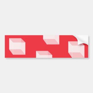 Cuadrados abstractos en rojo pegatina para auto