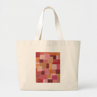 cuadrados abstractos rosados de color de malva bolsa tela grande