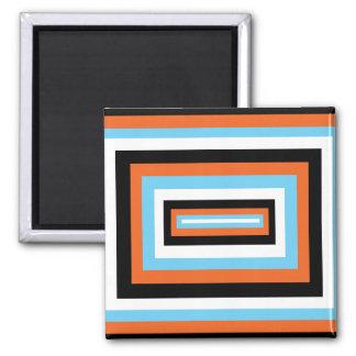 Cuadrados anaranjados/azules imán cuadrado