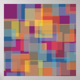 Cuadrados azules amarillo-naranja púrpuras póster