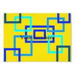 Cuadrados azules claros contemporáneos en amarillo invitación 12,7 x 17,8 cm