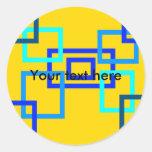 Cuadrados azules claros contemporáneos en amarillo pegatina redonda