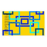 Cuadrados azules claros contemporáneos en amarillo tarjetas de visita