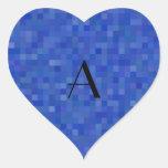 Cuadrados azules del mosaico del monograma calcomanías de corazones personalizadas