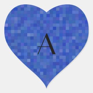 Cuadrados azules del mosaico del monograma pegatina en forma de corazón