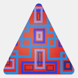 Cuadrados azules modernos en fondo rojo calcomanía trianguladas personalizadas