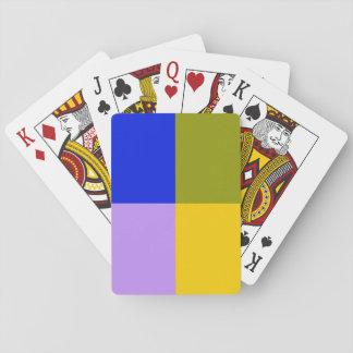 Cuadrados azules, verdes, rosados, amarillos barajas de cartas