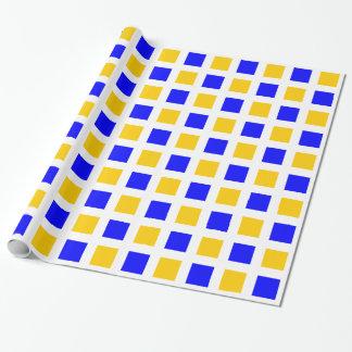 Cuadrados - azules y ámbar en blanco papel de regalo