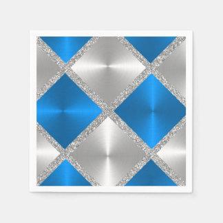 Cuadrados azules y grises con el brillo de plata servilletas desechables