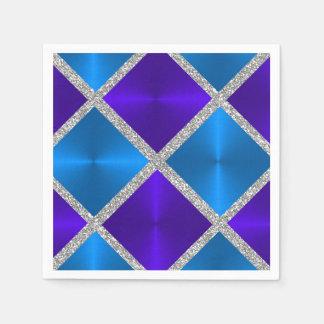 Cuadrados azules y púrpuras con el brillo de plata servilleta desechable