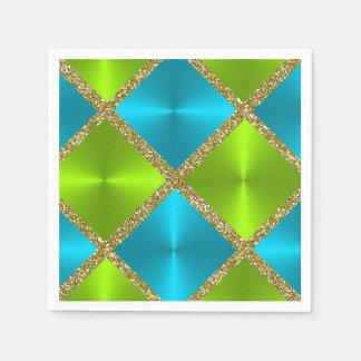 Cuadrados azules y verdes con brillo del oro servilleta desechable