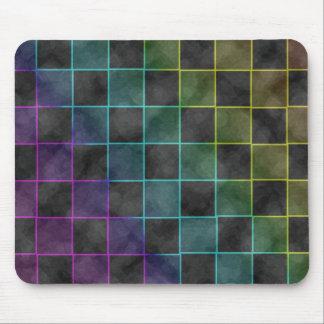 Cuadrados azules y verdes púrpuras del Grunge Tapetes De Ratones