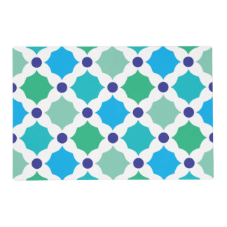 Cuadrados azules y verdes tapete individual