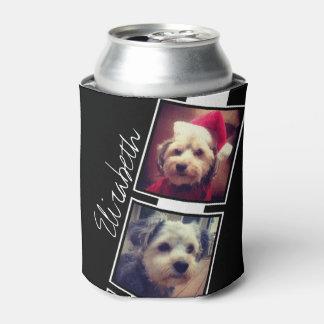 Cuadrados blancos y negros del collage de la foto enfriador de latas