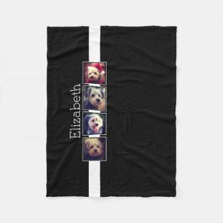 Cuadrados blancos y negros del collage de la foto manta de forro polar