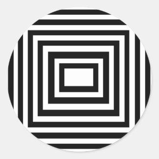 Cuadrados blancos y negros pegatina redonda