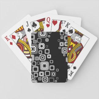 Cuadrados blancos y negros retros cartas de póquer