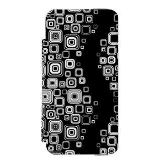 Cuadrados blancos y negros retros funda cartera para iPhone 5 watson